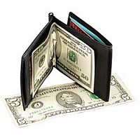 Used car manager has a wallet full of money